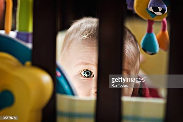 Baby looking through crib.