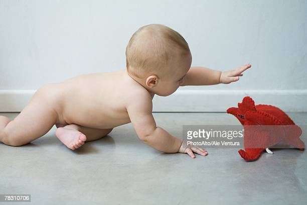 Baby on floor reaching for elephant puppet