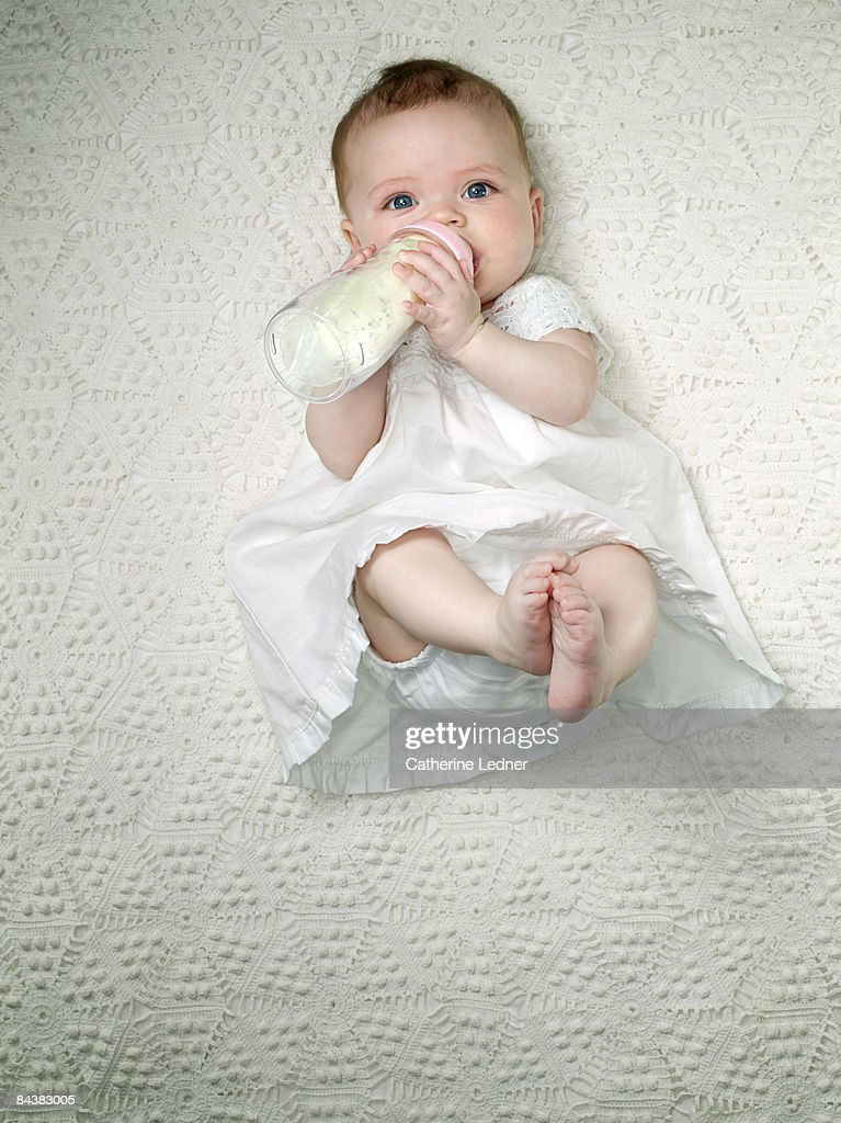 Baby on White with Bottle