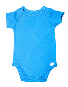 Blue colored baby onesie or baby bodysuit isolated on white background