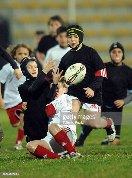 Baby players of Aironi in action during half time of the Magners League match between Aironi Rugby and Newport Gwent Dragons at Stadio Luigi...