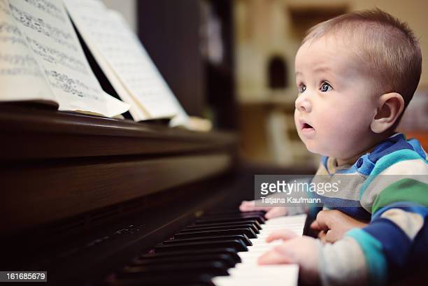 Baby 'playing' piano