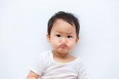 A baby pouting