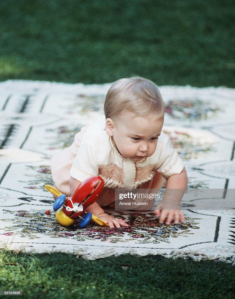 Prince William is seen crawling towards his parents TRH Prince Charles and Princess Diana during their 1983 official visit to New Zealand in April...