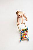 Baby Pushing Cart of Blocks