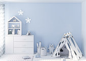 Kids room and empty wall mockup 3d rendering