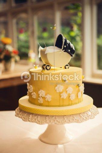 Baby Shower Cake With Push Chair Stock Photo Thinkstock