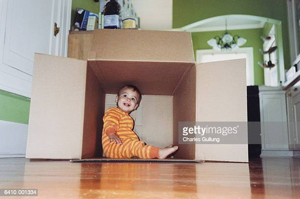 Baby Sitting in Cardboard Box