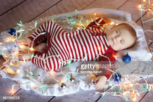 Baby In Box With Christmas Lights Stock Photo Getty Images - Baby With Christmas Lights