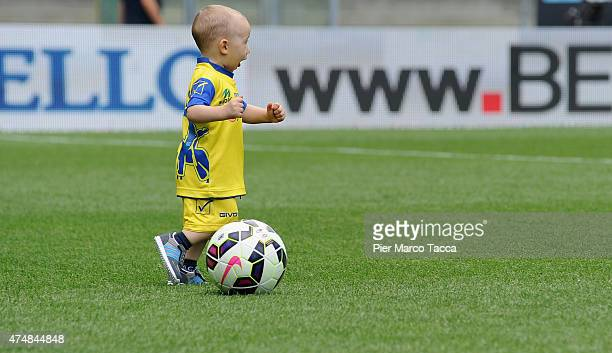 A baby son of a player from AC Chievo Verona entered the game before before the Serie A match between AC Chievo Verona and Atalanta BC at Stadio...