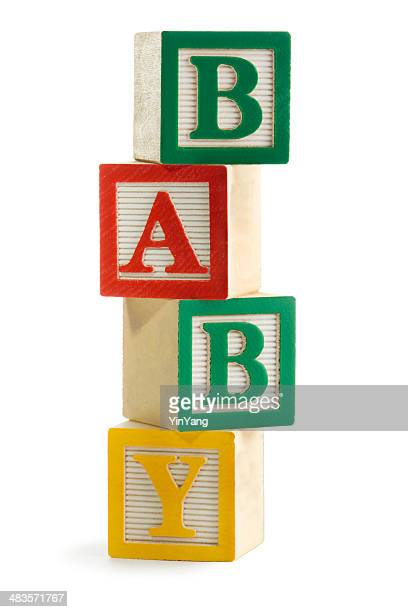 """Baby"" Spelled in Stacked Alphabet Toy Blocks, for Learning, Playing"