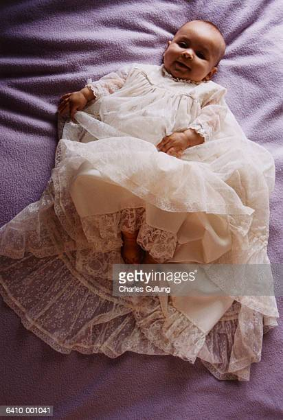 Baby Wearing Christening Gown