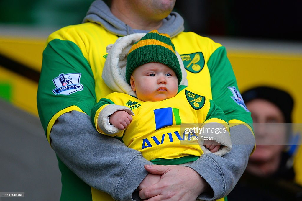 A baby wears the Norwich colours during the Barclays Premier League match between Norwich City and Tottenham Hotspur at Carrow Road on February 23, 2014 in Norwich, England.