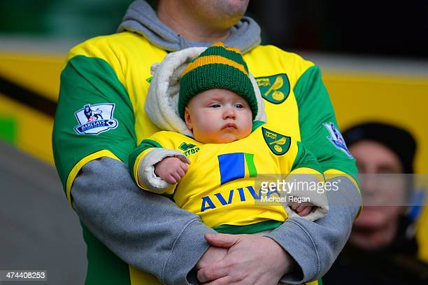 A baby wears the Norwich colours during the Barclays Premier League match between Norwich City and Tottenham Hotspur at Carrow Road on February 23...
