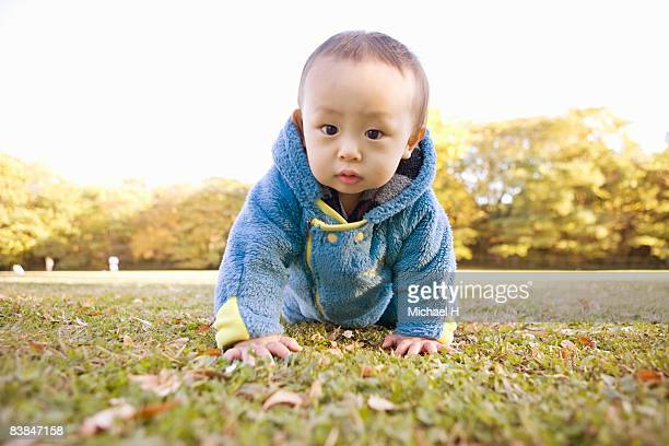 Baby who plays in park of autumn