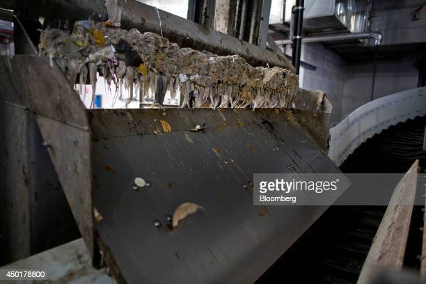 Baby wipes and other paper products are removed from sewage water at the Newtown Creek treatment facility in the Brooklyn borough of New York US on...