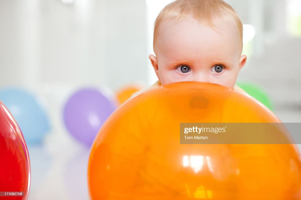 Baby with balloons : Stock Photo