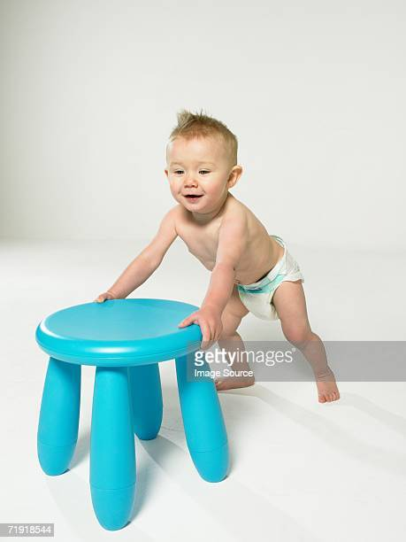 Baby with blue stool