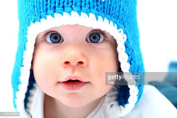 Baby with blue winter hat