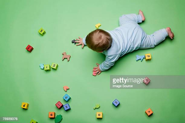 Baby with building blocks