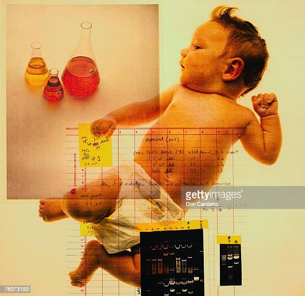 Baby with chart and beakers