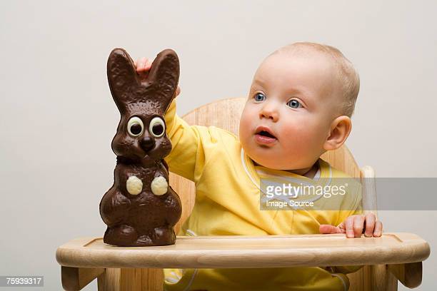 Baby with chocolate bunny