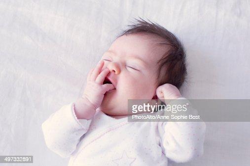 Baby yawning