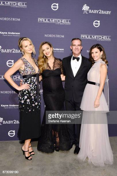 Baby2Baby CoPresident Kelly Sawyer Patricof Jessica Alba Eric Garcetti Baby2Baby CoPresident Norah Weinstein attend The 2017 Baby2Baby Gala presented...