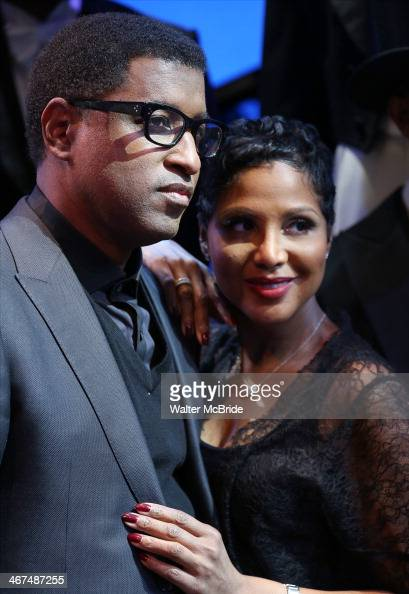 Babyface and Toni Braxton visit backstage at Broadway's 'After Midnight' at The Brooks Atkinson Theatre on February 6 2014 in New York City Babyface...