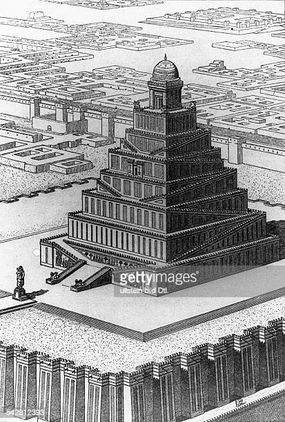 Babylon / Mesopotamia Reconstruction of the temple complex with the 'Tower of Babel' undated