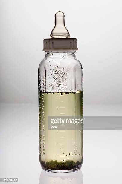 Baby's bottle with dirty water