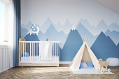 Baby's room. Bed, tent, mountains. 3d rendering.