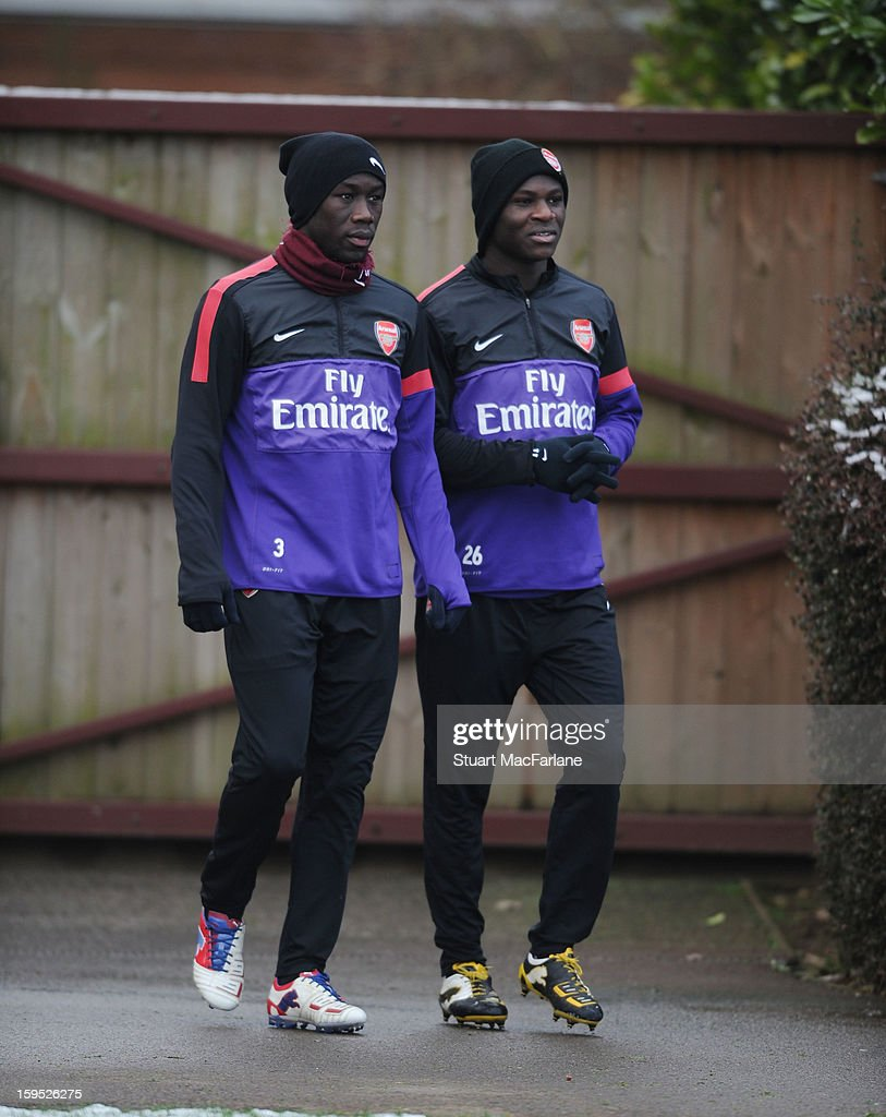 Bacary Sagna and Emmanuel Frimpong of Arsenal before a training session at London Colney on January 15, 2013 in St Albans, England.