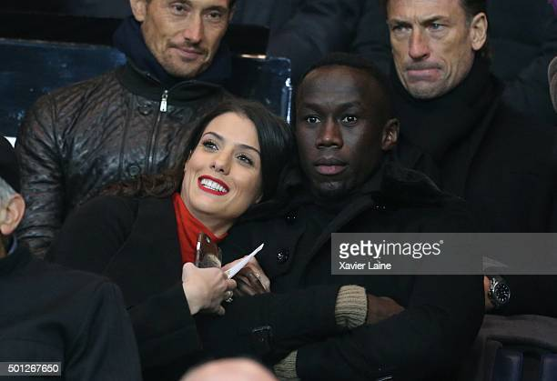Bacary Sagna and his wife Ludivine Kadri attend the French Ligue 1 between Paris SaintGermain and Olympique Lyonnais at Parc Des Princes on december...