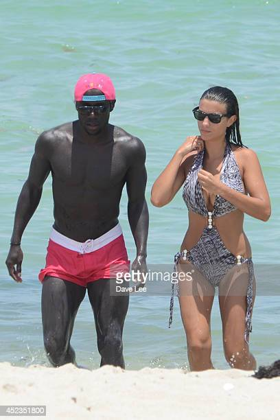 Bacary Sagna and Ludivine Kadri Sagna are sighted on Miami Beach at the W Hotel on July 18 2014 in Miami Florida