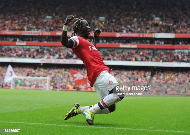 Bacary Sagna celebrates scoring the 3rd Arsenal goal during the Barclays Premier League match between Arsenal and Stoke City at Emirates Stadium on...