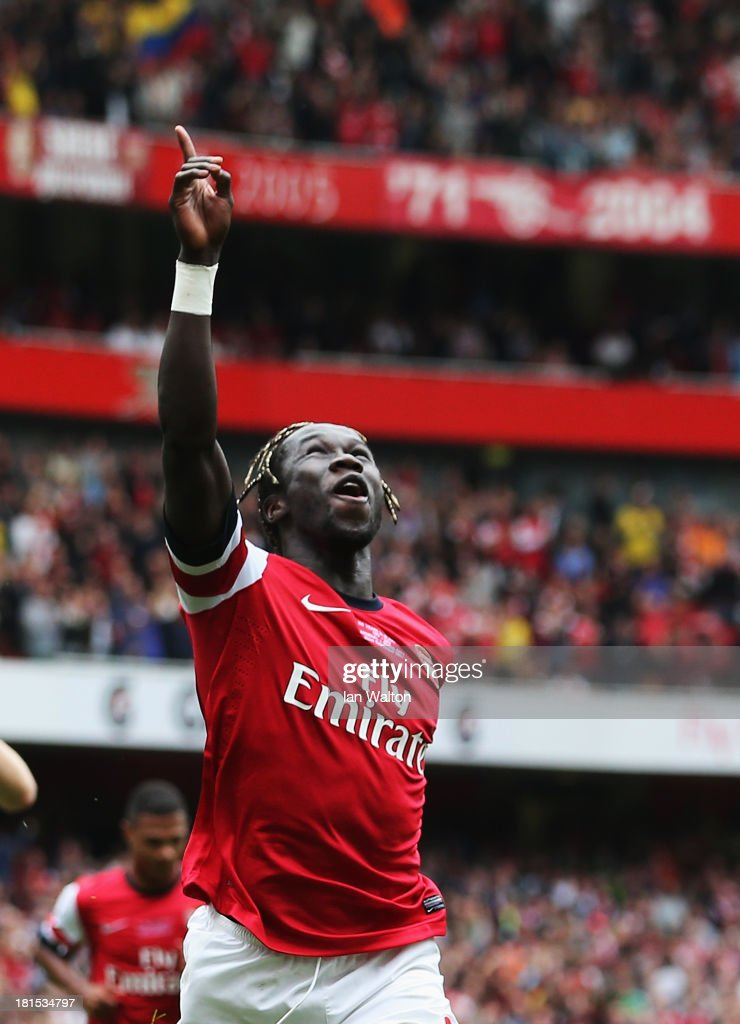<a gi-track='captionPersonalityLinkClicked' href=/galleries/search?phrase=Bacary+Sagna&family=editorial&specificpeople=745680 ng-click='$event.stopPropagation()'>Bacary Sagna</a> of Arsenal celebrates as he scores their third goal during the Barclays Premier League match between Arsenal and Stoke City at Emirates Stadium on September 22, 2013 in London, England.
