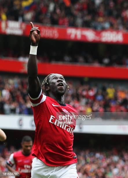 Bacary Sagna of Arsenal celebrates as he scores their third goal during the Barclays Premier League match between Arsenal and Stoke City at Emirates...