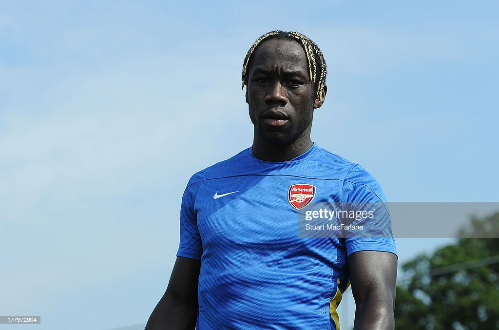 Bacary Sagna of Arsenal during a training session ahead of their UEFA Champions League Play Off second leg match against Fenerbache at London Colney on August 26, 2013 in St Albans, England.