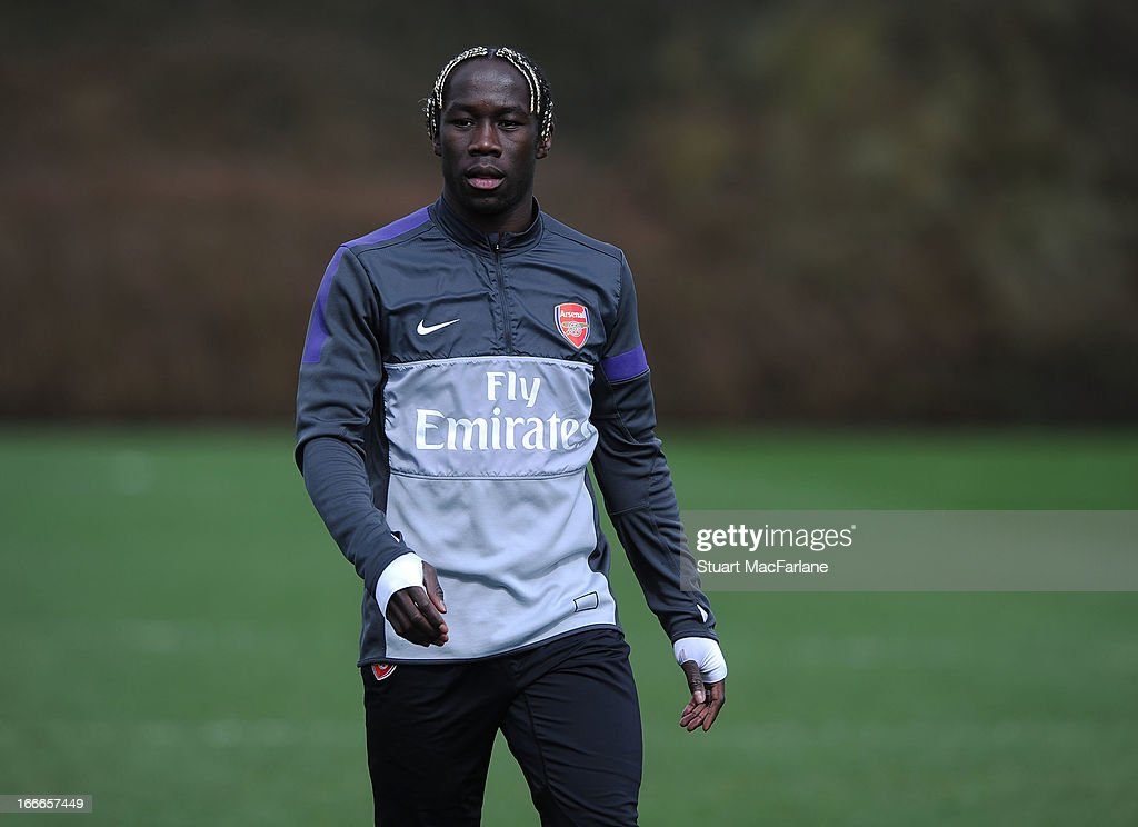 Bacary Sagna of Arsenal during a training session at London Colney on April 15, 2013 in St Albans, England.