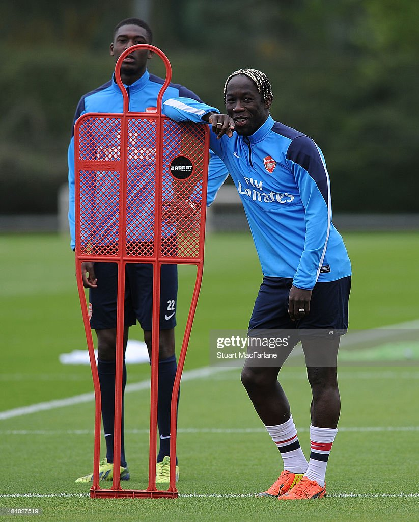 ST. ALBANS, ENGLAND - Bacary Sagna of Arsenal during a training session at London Colney on April 11, 2014 in St Albans, England.