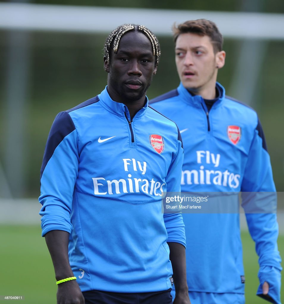 <a gi-track='captionPersonalityLinkClicked' href=/galleries/search?phrase=Bacary+Sagna&family=editorial&specificpeople=745680 ng-click='$event.stopPropagation()'>Bacary Sagna</a> of Arsenal during a training session at London Colney on April 27, 2014 in St Albans, England.