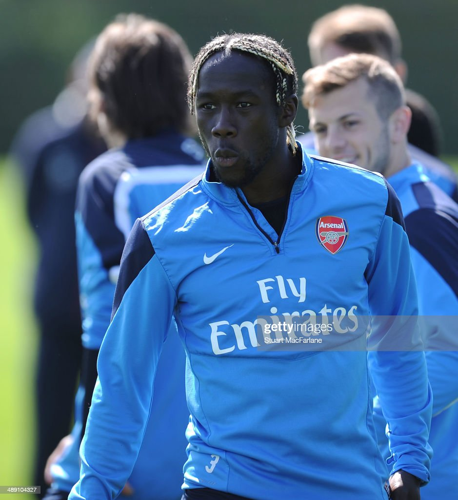 <a gi-track='captionPersonalityLinkClicked' href=/galleries/search?phrase=Bacary+Sagna&family=editorial&specificpeople=745680 ng-click='$event.stopPropagation()'>Bacary Sagna</a> of Arsenal during a training session at London Colney on May 10, 2014 in St Albans, England.