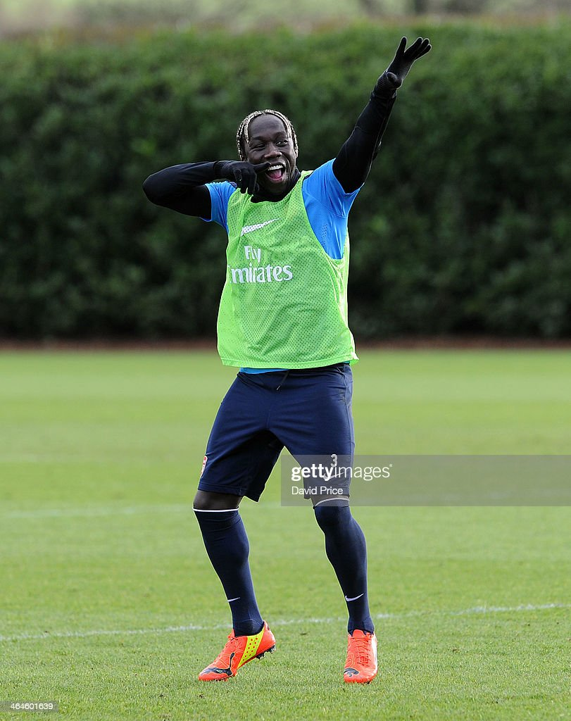 Bacary Sagna of Arsenal during Arsenal Training Session at London Colney on January 23, 2014 in St Albans, England.