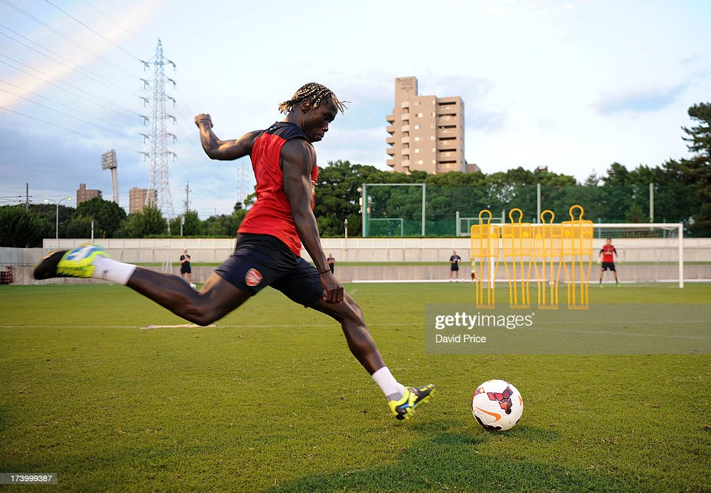 Bacary Sagna of Arsenal FC during the Arsenal Training Session at the Mizunho Park Rugby Stadium in Japan for the club's pre-season Asian tour on July 19, 2013 in Nagoya, Japan.