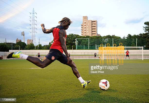 Bacary Sagna of Arsenal FC during the Arsenal Training Session at the Mizunho Park Rugby Stadium in Japan for the club's preseason Asian tour on July...