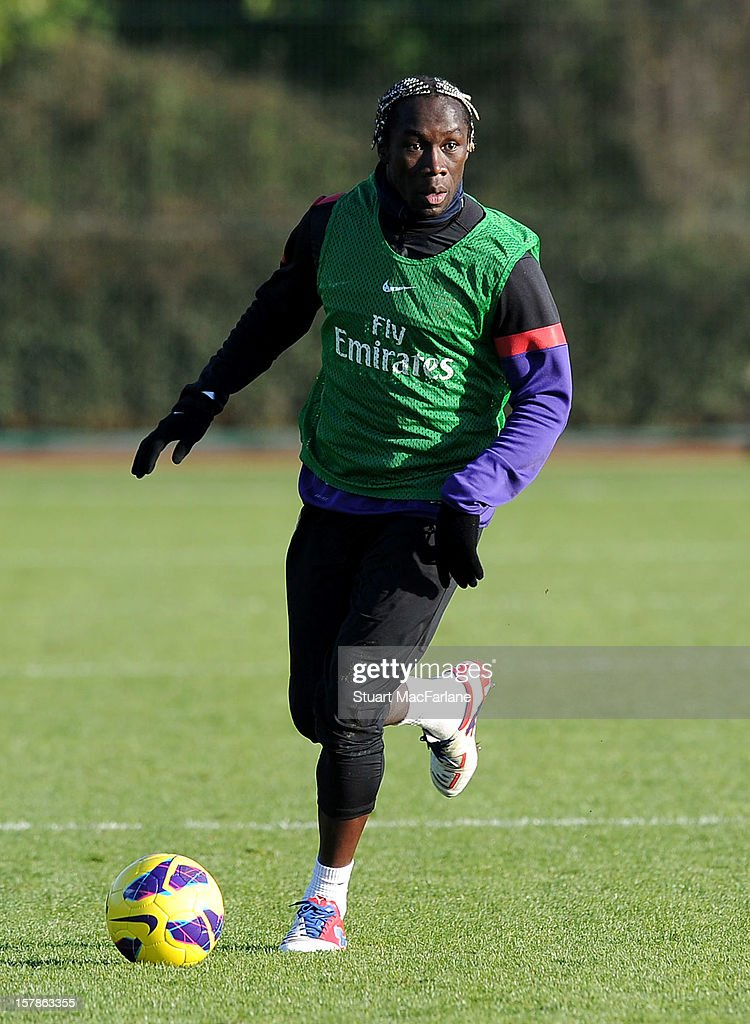 Bacary Sagna of Arsenal in action during a training session at London Colney on December 07, 2012 in St Albans, England.