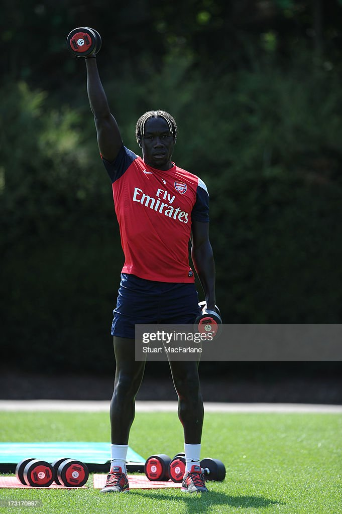 Bacary Sagna of Arsenal in action during a training session at London Colney on July 09, 2013 in St Albans, England.