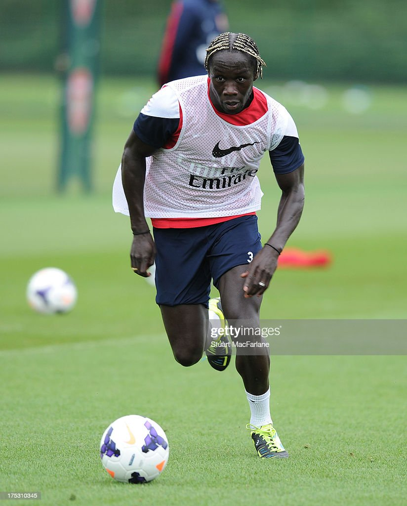 <a gi-track='captionPersonalityLinkClicked' href=/galleries/search?phrase=Bacary+Sagna&family=editorial&specificpeople=745680 ng-click='$event.stopPropagation()'>Bacary Sagna</a> of Arsenal in action during a training session at London Colney on August 02, 2013 in St Albans, England.