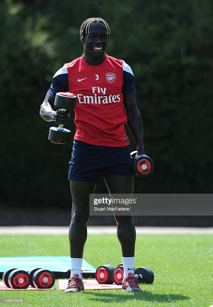 Bacary Sagna of Arsenal smiles during a training session at London Colney on July 09, 2013 in St Albans, England.
